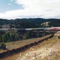 Crossing the Greenhorn Creek trestle at Mullan Pass, northwest of Helena MT